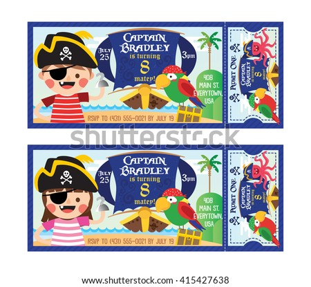 Vector illustration pirate children parrot ticket invitation stock a vector illustration pirate children and parrotticket invitation birthday pirate party stopboris Image collections