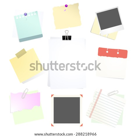 A vector illustration set of assorted notes and memos.