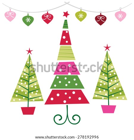 A vector illustration set of funky retro christmas trees with ornaments. - stock vector