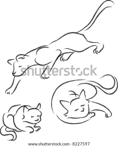a vector illustration sketching for a variety view for cats, pet.