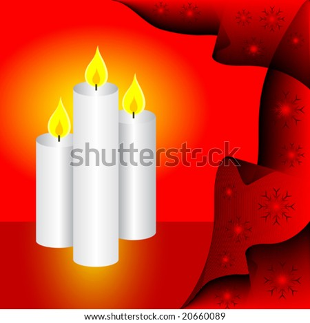 A vector illustration with a set of three candles on a red background can be used as christmas illustration