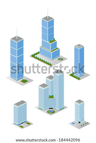 A vector illustrations pack of isometric tall city office buildings which are compatible with each other in grid perspective and size