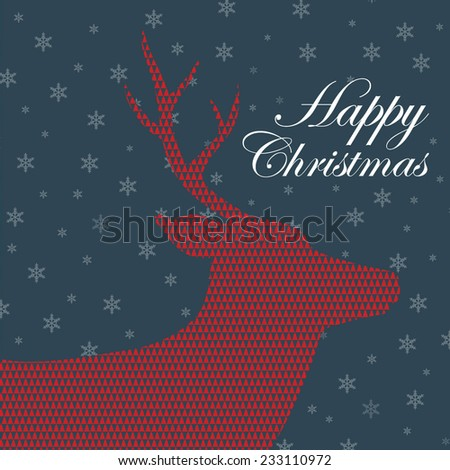 A vector image is for christmas pattern and background. christmas card, wrapping paper, wall paper. red deer and snowflake. happy christmas. - stock vector