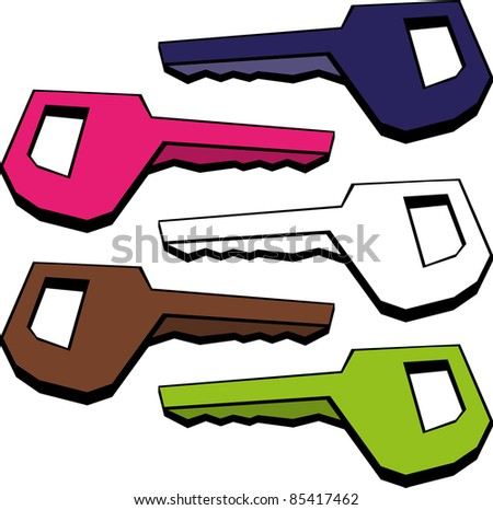 A vector image of a colored key. All objects are separated, the can be scaled, edited or recolored for 5 minutes - stock vector