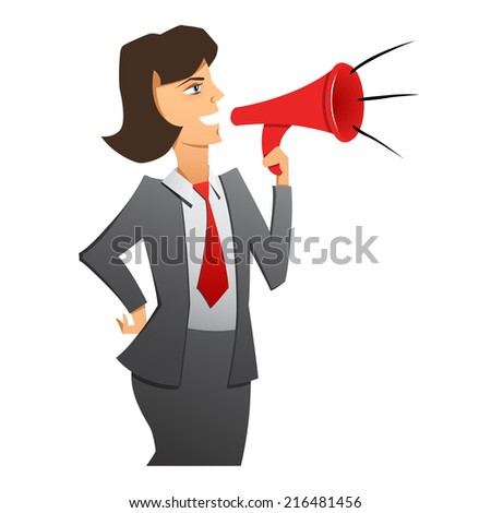 A vector image of a woman director with a megaphone - stock vector