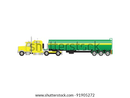 A Vector Image of a Yellow and Green Gasoline Tanker Truck - stock vector