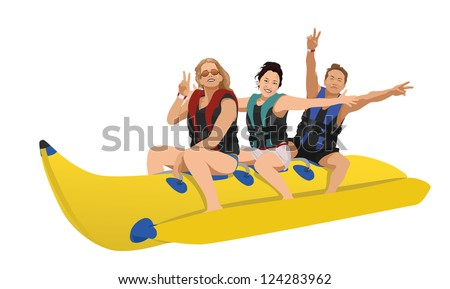 a vector image of several people on the banana boat - stock vector