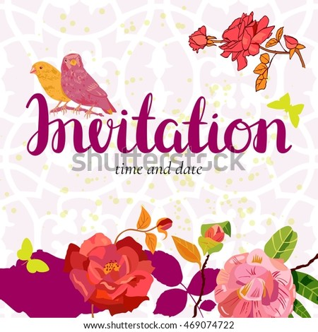 A vector invitation with an ornament in the background, with vintage style roses, birds and butterflies, with the handwritten word 'Invitation' and a place for your text