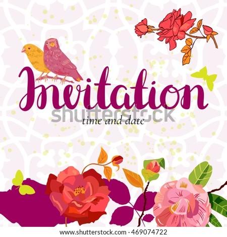 Vector invitation ornament background vintage style stock vector a vector invitation with an ornament in the background with vintage style roses birds stopboris Gallery