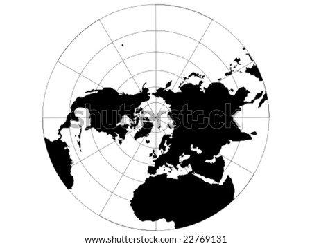 A vector map of the northern hemisphere with a map grid that uses a polar stereographic projection. - stock vector