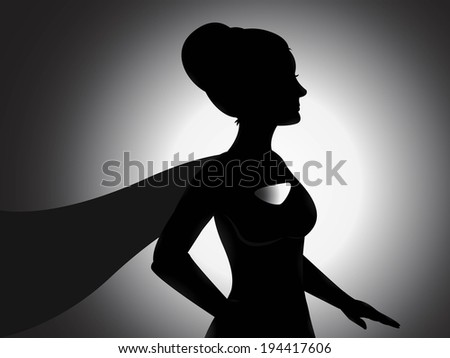 A vector of a superhero girl silhouette with shading effects
