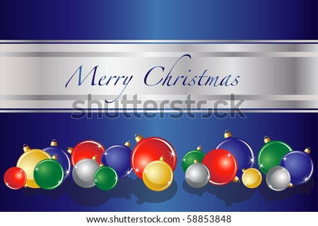 A vector of Christmas baubles on blue background with space for text. EPS10 fully editable vector format. - stock vector