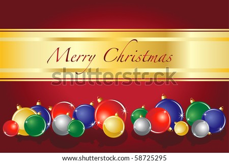 A vector of Christmas baubles on red background with space for text. EPS10 fully editable vector format. - stock vector