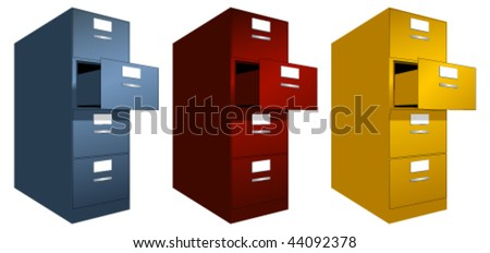 A vector of drawers in 3 colors - stock vector