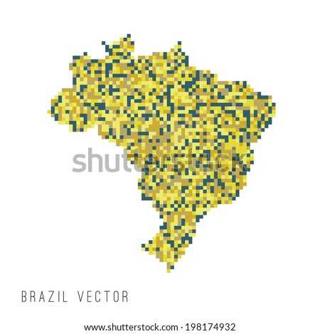 A vector outline of Brazil in a pixel art style