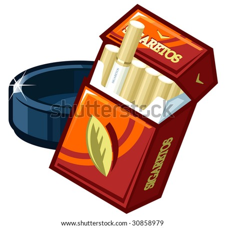 A vector pack of cigarettes  and  ashtray - stock vector