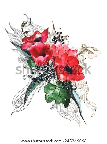 A Vector Painted Watercolor rose, anemones, Dog rose