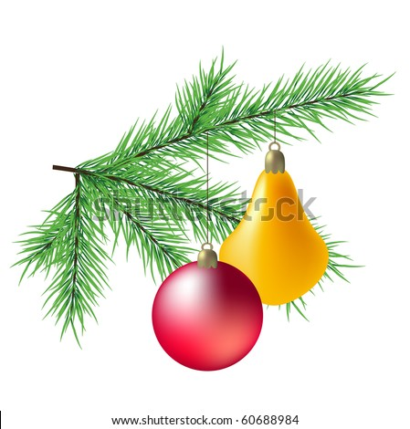 A vector realistic branch of fir with balls - stock vector