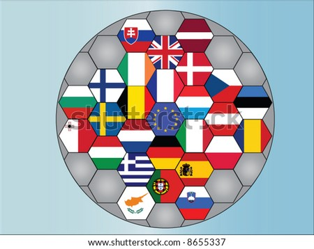 A vector representing europe countries in a ball