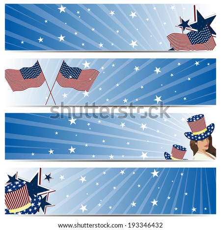 A vector set of american independence day header and banners - stock vector