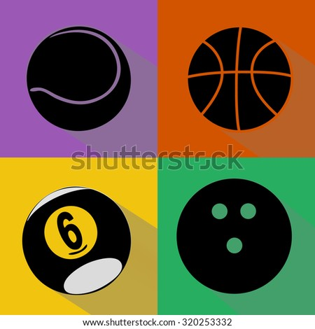A vector set of black sport balls silhouettes with shadows isolated over colored background. Tennis, basketball, billiard and bowling balls illustration - stock vector