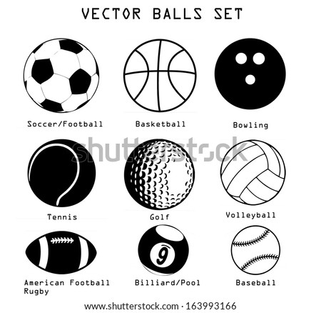 A vector set of different sport balls isolated over white background - stock vector