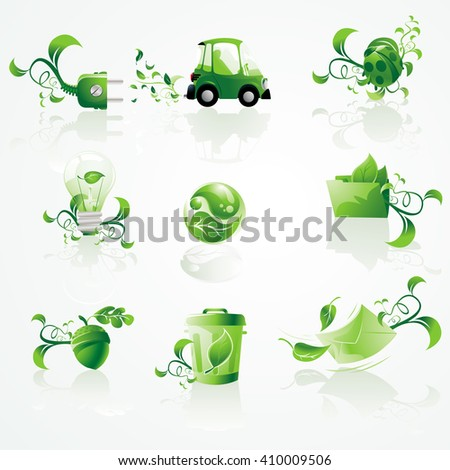 A vector set of environmental conservation icons. The icons can be used to symbolize going green.  - stock vector