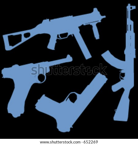 a vector set of 4 guns - stock vector