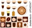 A vector set of Hot Beverages (Coffee, Tea, Chocolate) - stock vector