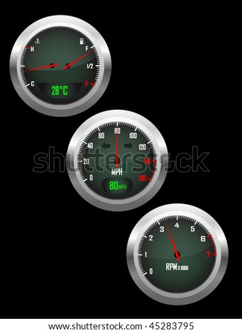 a vector set of three car dials with speedometer,rev counter and petrol and temperature gauge - stock vector