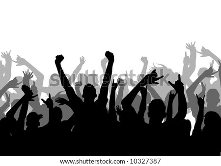 A vector silhouette of an Audience - stock vector