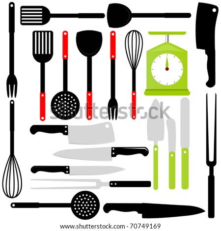 A Vector Silhouette of Cooking Utensils : knives, baking equipments isolated on white - stock vector