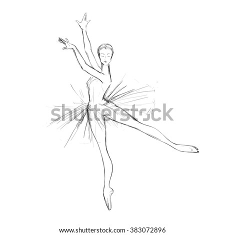 A vector sketch of a young ballerina, a hand drawing.
