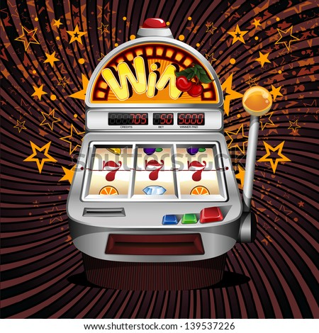 A vector slot fruit machine with cherry winning on sevens. - stock vector