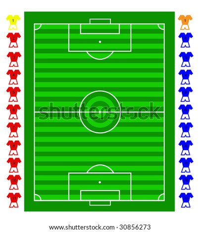 A vector soccer football tactical pitch with movable players