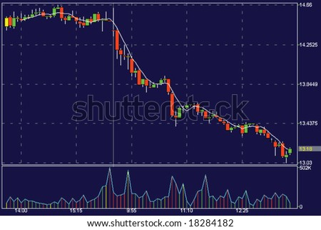 A vector stock chart showing declining shares - stock vector