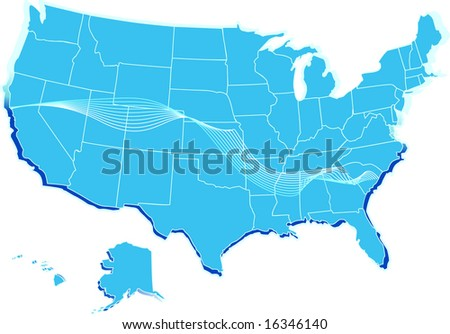 A vector stylized usa map - stock vector
