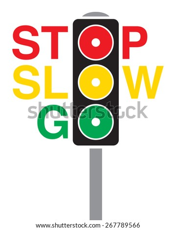 A vector traffic light where the circles become a part of the words stop, slow and go. - stock vector