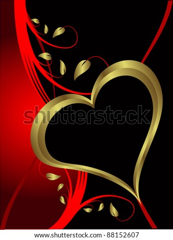 A vector valentines background with gold hearts on a black backdrop  with   room for text - stock vector