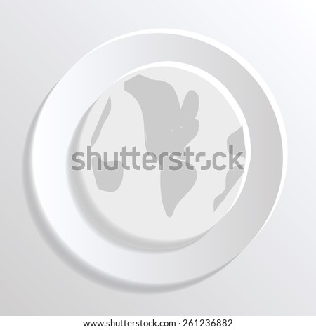 Vector world map icon white paper stock vector 261236882 shutterstock a vector world map icon of white paper gumiabroncs Gallery