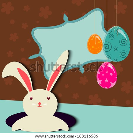 A very Beautiful Happy Easter Card Illustration With Easter Eggs And Rabbit