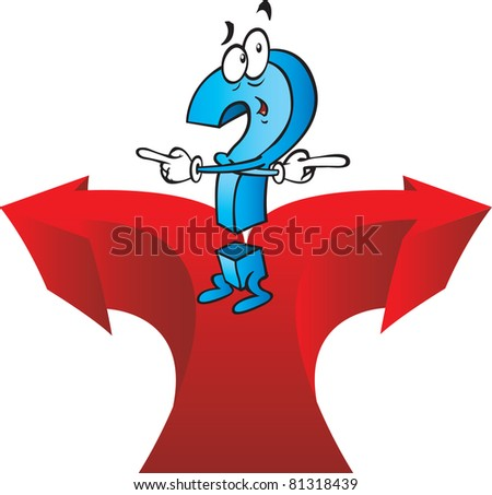 A very confused cartoon question mark cant decide on his direction. Vector illustration. - stock vector