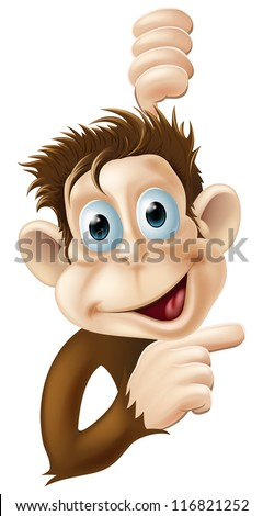 A very happy monkey pointing cartoon character or mascot - stock vector