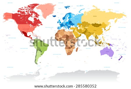 A very highly detailed vector map of the world, with all country, capitals, and many city names, all organized with layers to suit any editing needs. - stock vector