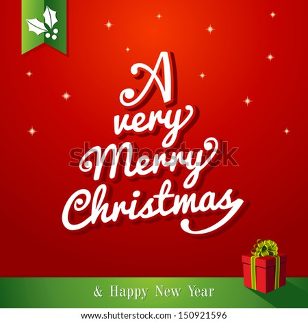 A very Merry Christmas and happy new year,tree shape red background. Vector file layered for easy editing.