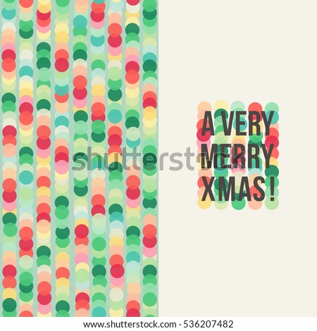 A very merry Xmas card with multicolored circles and greetings