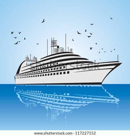 a very realistic view of Cruise Ship, similar to the Freedom of the Sea ship. Sailing out at sea. - stock vector