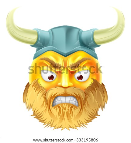A viking emoji emoticon smiley face character looking very angry - stock vector