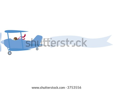 A vintage biplane pulls a banner ready for your message. Fully editable vector illustration. - stock vector
