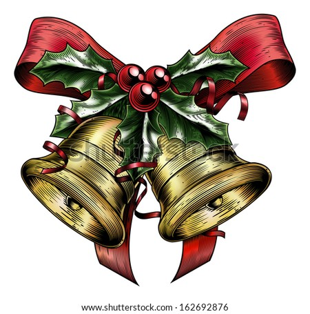 A vintage Christmas gold bells holly sprig and berries with red bow and ribbons in a woodblock, woodcut, etching or lithograph print style - stock vector